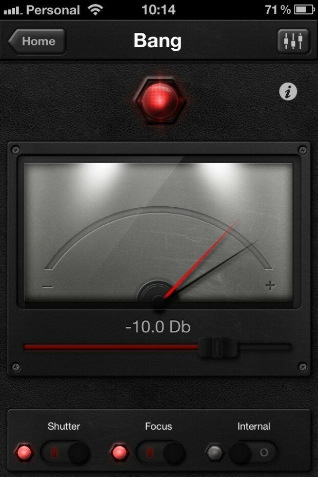 With Triggertrap Mobile, the sound trigger (called 'Bang') can be fine-tuned by moving the slider. Whenever the black arrow (which reacts to the sound) goes above the red arrow (the threshold), your camera is triggered.
